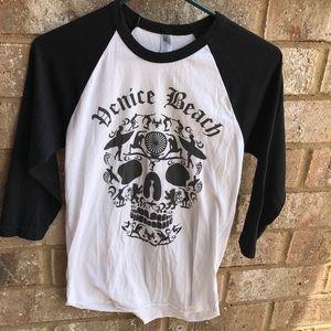 Venice Beach Skull Baseball T Shirt